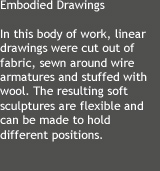 In this body of work, linear drawings were cut out of fabric, sewn around wire armatures and stuffed with wool. The resulting soft sculptures are flexible and can be made to hold different positions.